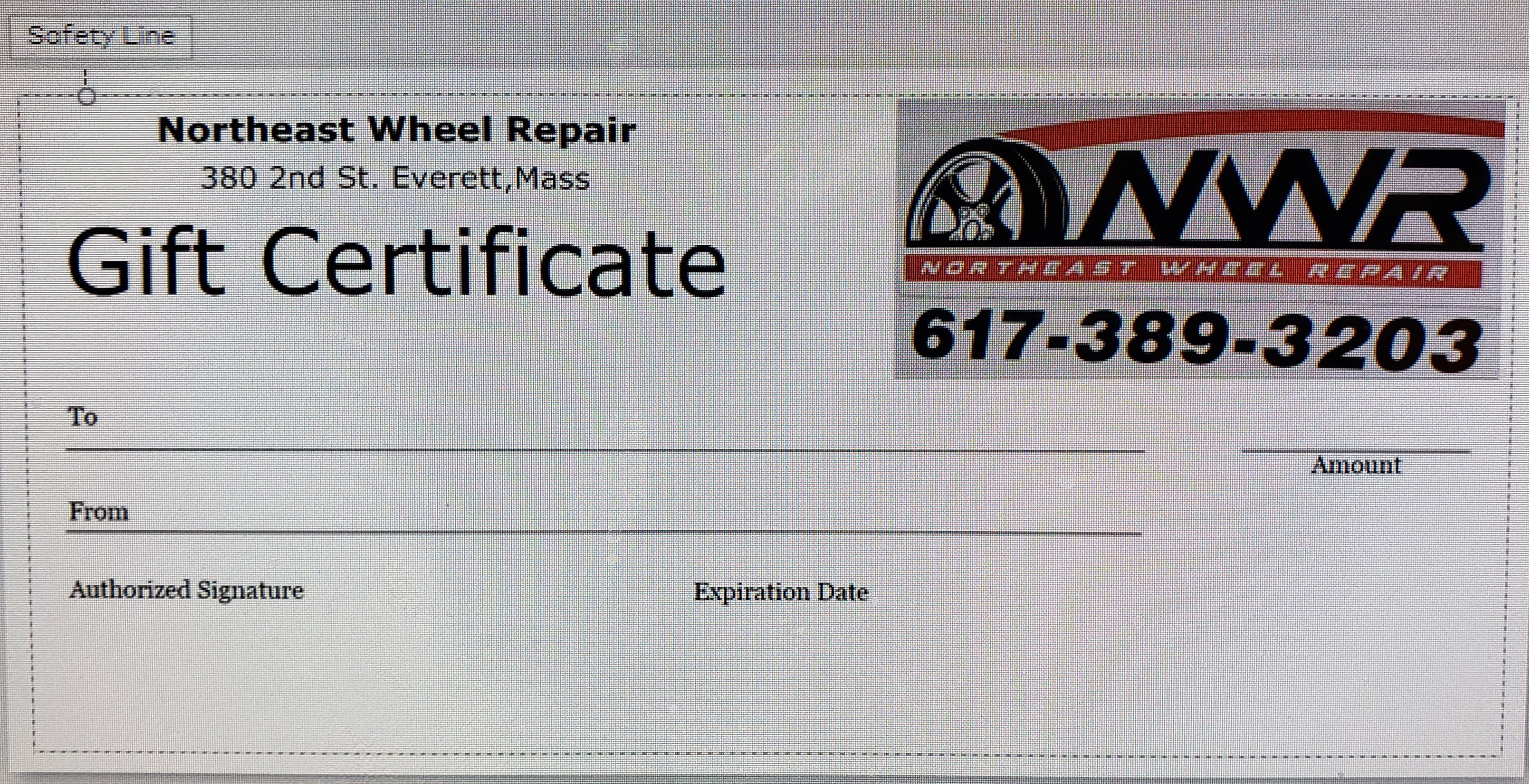 Northeast Wheel Repair Gift Certificate, Holiday Specials
